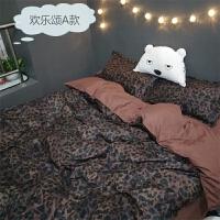 欢乐颂同款豹纹1.8床上用品四件套1.5m学生宿舍1.2床单被套三件套