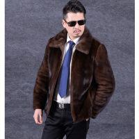 秋冬新款男士仿 毛皮草外套中长款 皮大衣海宁整貂皮草修身 深棕色