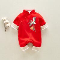 宝宝满月旗袍男女秋冬装婴儿百天加厚红色中国风连体服周岁礼服 红色
