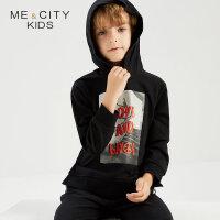 【1件2折到手价:45.8】米喜迪mecity童装秋新款男童连帽下摆侧开叉针织套头衫