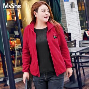MsShe大码冬装2017新款200斤胖mm保暖胖妹妹卫衣外套M1740719