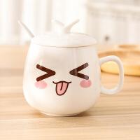 创意陶瓷杯子学生简约水杯牛奶咖啡杯马克杯套装带盖勺情侣表情杯