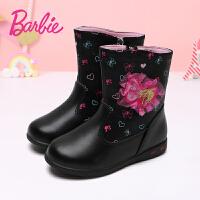 芭比靴子女童真皮加绒公主靴冬季2017新款韩版短靴子儿童二棉亮灯