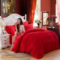 床上四件套春秋季珊瑚绒毛绒被单被套加厚加绒双面法拉绒法兰绒春秋 红色 RC大红