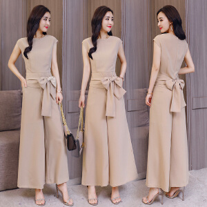 2018春夏装新款韩版女装坊小心机两件套时髦修身淑女优雅阔腿套装