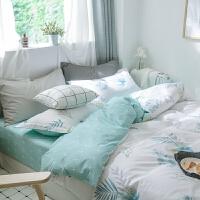 ???纯棉四件套全棉学生宿舍单人床上三件套1.5m床小清新双人床单被套 笠款