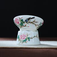 陶瓷功夫茶具配件手绘花鸟泡茶滤网茶叶过滤网滤茶器茶漏