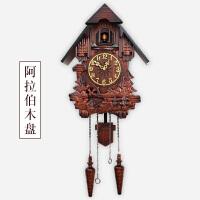 【优选】欧式田园实木雕刻布谷鸟挂钟创意音乐咕咕钟客厅儿童房整点报时钟 20英寸