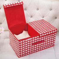 收纳盒布艺有盖折叠储物箱特大号无纺布整理箱衣服收纳箱2格双盖