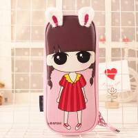 韩版创意女生密码锁帆布多功能大容量多层简约可爱笔袋文具盒 2606-01小希粉色