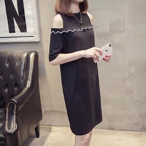 2018夏装新款女装修身显瘦短袖裙子中长款时尚露肩网纱连衣裙