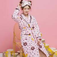 秋冬季睡袍女加厚夹棉三层里外袄长袖加大码保暖浴袍宽松睡衣 粉色 Y800