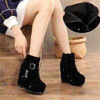 秋冬季流苏绒面短靴超高跟13cm显瘦女靴内增高防水台女鞋棉靴裸靴
