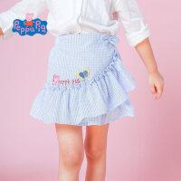 【3件3折到手价:45】小猪佩奇童装女童夏装2019春夏新品可爱格纹荷叶边半身裙裙子