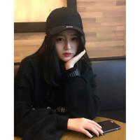 韩国ins鸭舌帽子男女潮牌韩版街头运动嘻哈帽韩国黑色字母棒球帽 黑色 CAP 现货秒发 可调节