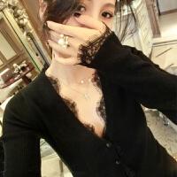 大码毛衣女胖mm爱冬装V领长袖针织衫新款胖妹妹蕾丝开衫打底衫 黑色