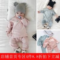 婴儿衣服0一1岁男女宝宝春季装幼儿纯色和尚服新生儿纯棉套装