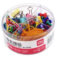 得力(deli)8500 办公组合套装 图钉/回形针/票夹/橡皮筋四合一 4格