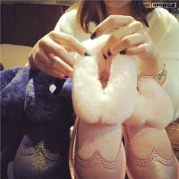 欧洲站冬季新款布洛克雪地靴女真皮羊毛中筒靴子平底加绒保暖女鞋