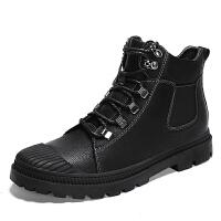 马丁靴男潮百搭真皮秋季中高帮英伦风沙漠靴短靴子工装靴男鞋 黑色