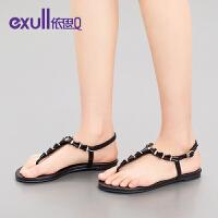 exull/依思Q2016夏凉鞋休闲简约水钻夹趾平低跟女鞋