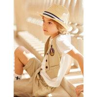 【1件2.5折到手价:53.8】米喜迪mecity童装男童t恤19夏新款马甲假两件短袖儿童t恤