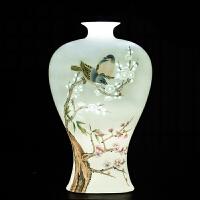 景德镇陶瓷名家大师手绘粉彩梅开五福花瓶中式客厅酒柜装饰品摆件 大师高峰--(梅开五福)薄胎玲珑粉彩花瓶 送锦盒