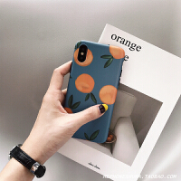 ins风复古橘子iphone xs Max/XR苹果X手机壳7/8plus/6s蓝小清新女 XR 蓝底橘子imd