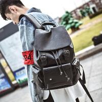 韩版皮质时尚个性休闲潮流背包双肩包男学生大书包男士旅行英伦包