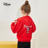 迪士尼女童连帽童装外套2020春秋新款宝宝儿童卡通印花洋气上衣