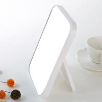 桌面公主镜长方形镜子简约时尚镜台式化妆镜大镜面梳妆镜便携折叠 二代款白色 21.5*14.5cm