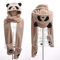 卡通毛绒韩版子保暖双层加厚儿童冬天女童帽子围巾手套三件套装一体帽 熊猫米色