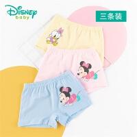 迪士尼Disney童装 女童米老鼠印花内裤3条装新品迪斯尼宝宝四角裤舒适透气款201P843