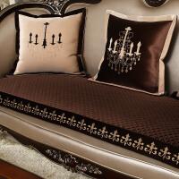 欧式真皮防滑沙发垫毛绒绣花布艺套组合美式真皮坐垫四季