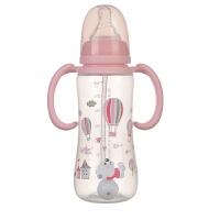 日康圆弧型有柄PP自动奶瓶标准口径奶瓶带手柄吸管240ML/140ML