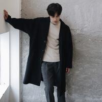 秋冬季英伦帅气毛呢大衣男中长款男士风衣韩版宽松青年呢子外套潮