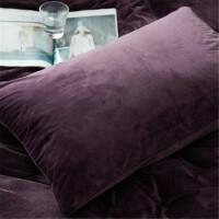 深紫色天鹅绒枕套加厚磨毛法兰绒枕套一对48*74cm枕头套法莱绒枕套 深紫色 一对 48cmX74cm
