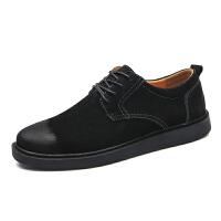 春季新款真皮男士休闲鞋黑色复古潮鞋商务小皮鞋英伦百搭大头鞋男