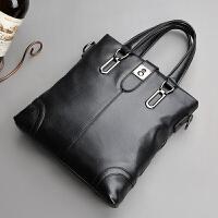 男包手提包竖款真皮商务公文包软皮单肩包斜挎包 男士包包 竖款黑色 收藏加购优先发货