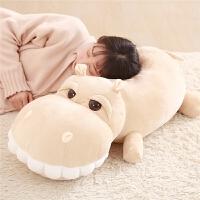 ???呆萌趴趴河马睡觉抱枕被子两用靠垫被毯二合一车载办公室午睡枕头