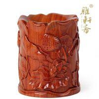 红色荷花莲子笔筒木雕工艺品红木摆件