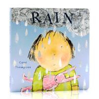 Rain下雨天英文原版绘本Child's Play出版 儿童启蒙纸板图画故事书 亲子互动 天气认知