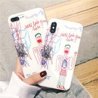 王子文同款iphone8/X/7plus手机壳网红苹果6s全包磨砂软壳ins /s imd 小学生涂鸦