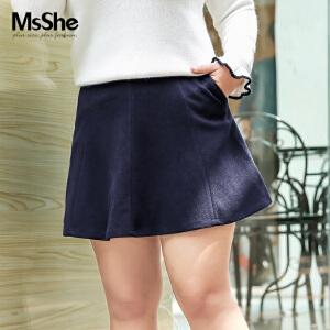 MsShe加大码女装胖mm2017新款秋装宽松针织半身裙A字短裙M1640402