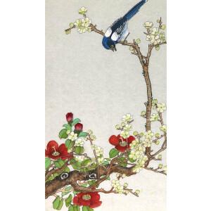 知名画家俞致贞 《喜鹊登梅 》66*39cm.纸本软片