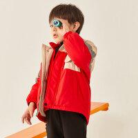 【1件4折价:199.6】moomoo童装男童冲锋衣两件套冬装新款大童运动风厚外套洋气潮酷