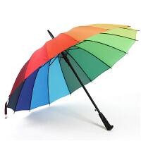 16K韩国创意彩虹伞 长柄自动雨伞 直杆雨伞 定制印刷广告包邮 偏远地区除外