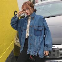 牛仔外套女春秋宽松学生韩版百搭复古显瘦不规则时尚上衣牛仔衣