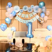 家居生活用品宝宝周岁生日快乐气球布置装饰 儿童 简单主题生日派对场景背景墙