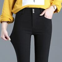 大码显瘦打底裤女外穿2018春夏季韩版高腰弹力薄款长裤小脚黑裤子